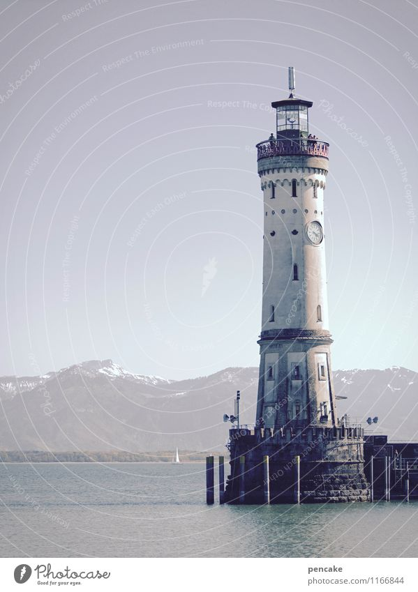 day watch Landscape Elements Water Spring Alps Lake Lake Constance Lindau Lighthouse Tourist Attraction Landmark Sign Vacation & Travel Illuminate Harbour