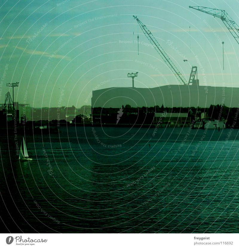 Sky Work and employment Industry Harbour Gastronomy Jetty Baltic Sea Crane Double exposure Sailboat Kiel Schleswig-Holstein