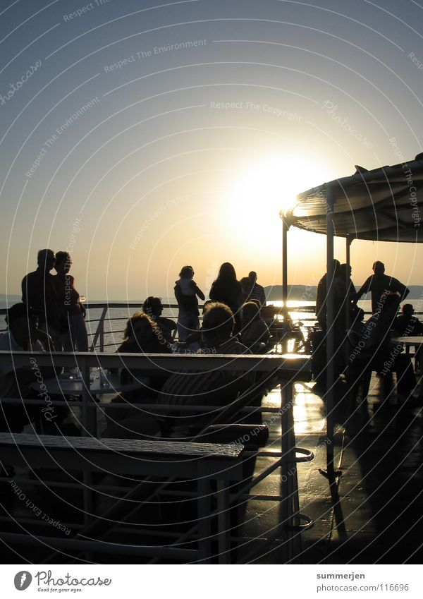 boatz_people Sunset Watercraft Ferry Man Woman Light and shadow Looking To enjoy Railing Romance Vacation & Travel Beautiful Joy Croatia Ocean Friendship