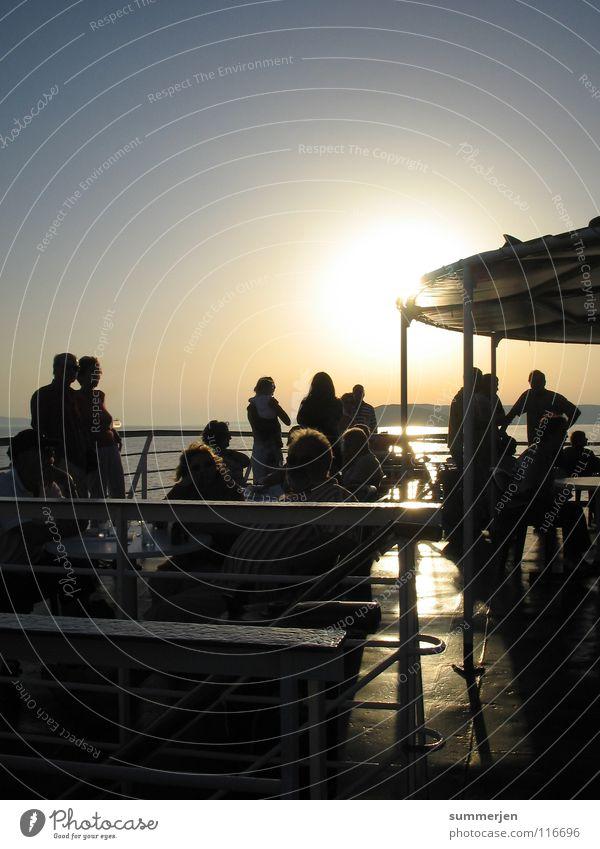 Woman Human being Man Beautiful Sun Ocean Joy Vacation & Travel Dark Friendship Watercraft Bright Together Romance Harbour To enjoy