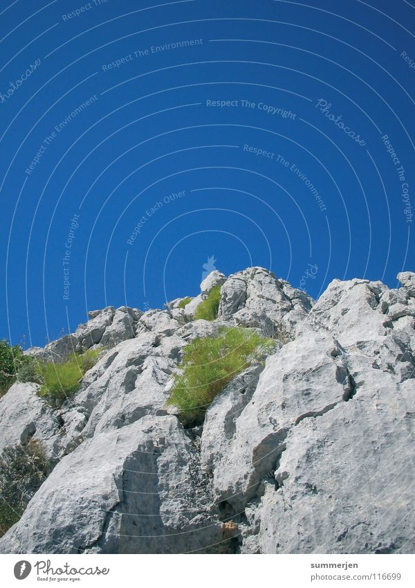 Nature Sky Green Blue Plant Above Mountain Gray Stone Large Rock Tall Corner Climbing Top Upward