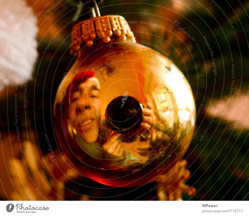 Christmas & Advent Winter Face Gold Masculine Cute Sphere Santa Claus Christmas decoration Glitter Ball Self portrait Lens Hang up Mirror image Distorted