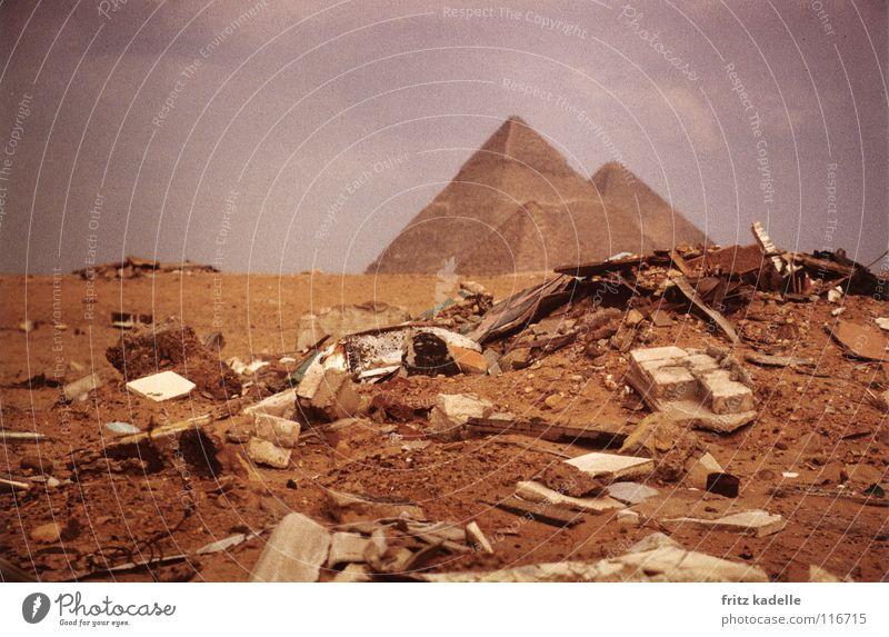 Clouds Sand Africa Desert Trash Heap Egypt Pyramid Bad weather Giza
