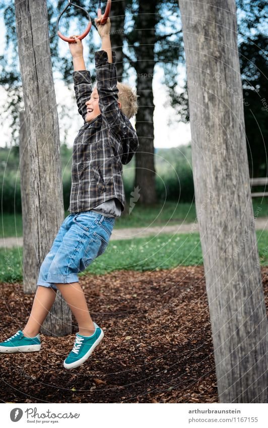 Boy at playground Joy Leisure and hobbies Playing Vacation & Travel Tourism Summer Playground Human being Masculine Child Infancy Life 1 3 - 8 years Nature