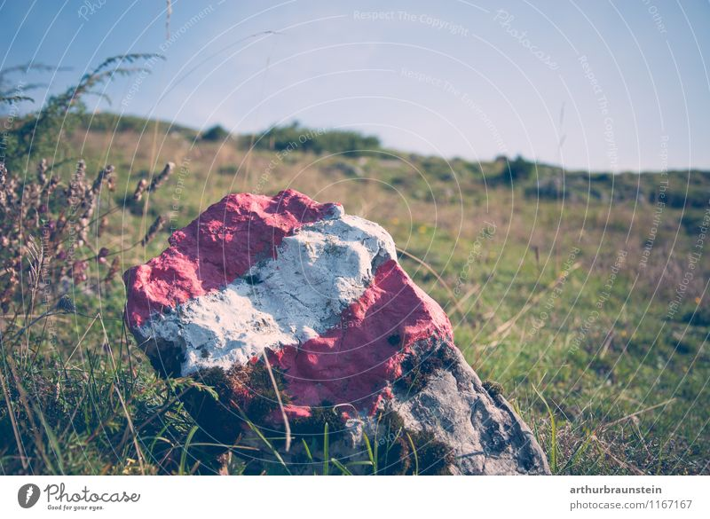 Boundary stone with Austrian flag Relaxation Leisure and hobbies Vacation & Travel Tourism Trip Summer Sun Mountain Hiking Sports Climbing Mountaineering