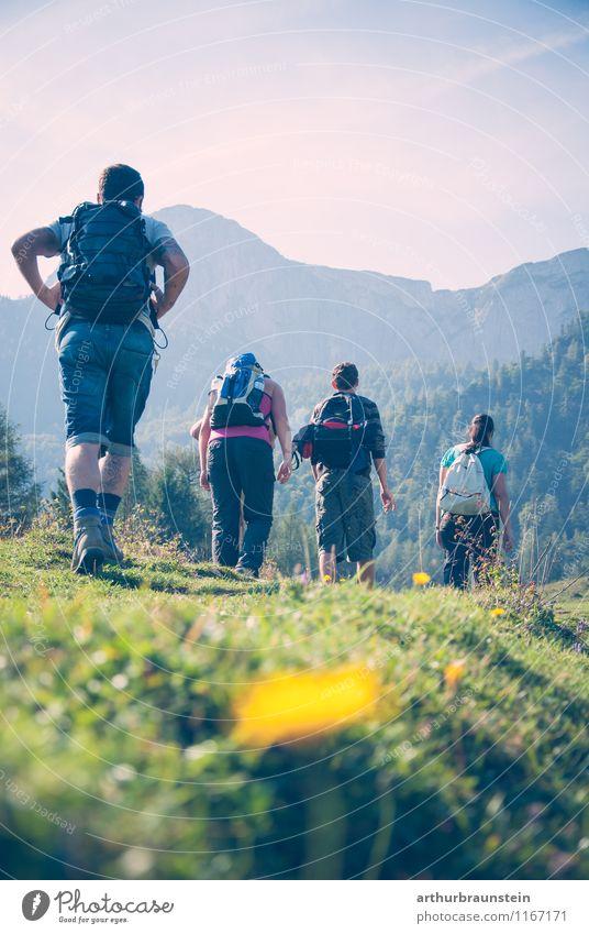 Women and men hiking Leisure and hobbies Vacation & Travel Tourism Trip Summer Sun Mountain Hiking Sports Climbing Mountaineering Human being Masculine Feminine