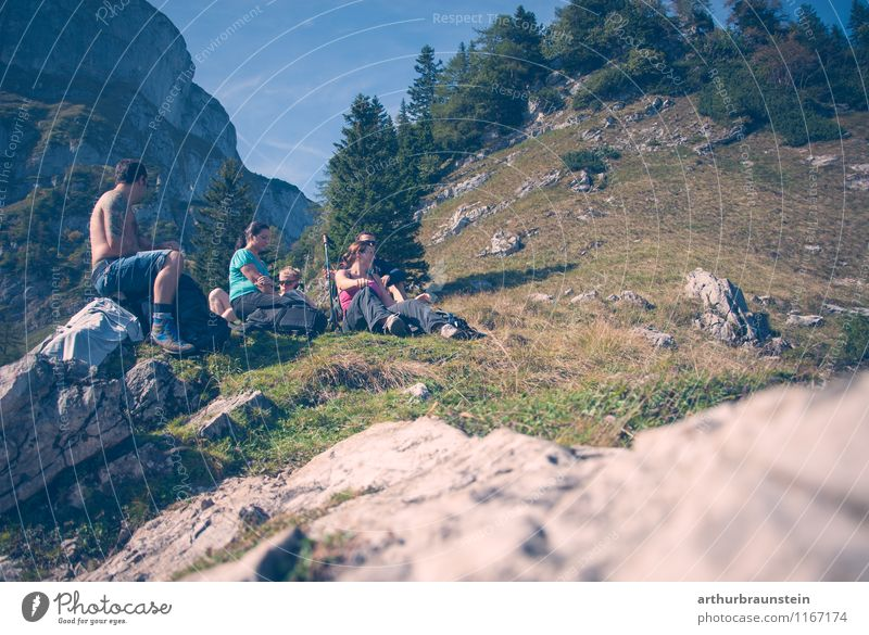 Break while hiking Healthy Calm Leisure and hobbies Vacation & Travel Tourism Trip Summer Sun Mountain Hiking Sports Climbing Mountaineering Human being