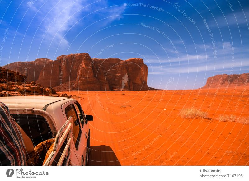 desert tour Back 1 Human being Nature Earth Sand Cloudless sky Summer Climate Beautiful weather Drought Rock Mountain Canyon Desert Motoring Footpath Truck jeep