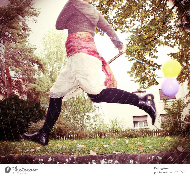 caper Woman Scarf Footwear Green Tree Light Jump Hop Going stump scurrilous Colour Running Legs Flying Balloon Exterior shot