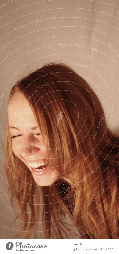 Woman Red Joy Laughter Hair and hairstyles Human being Loud