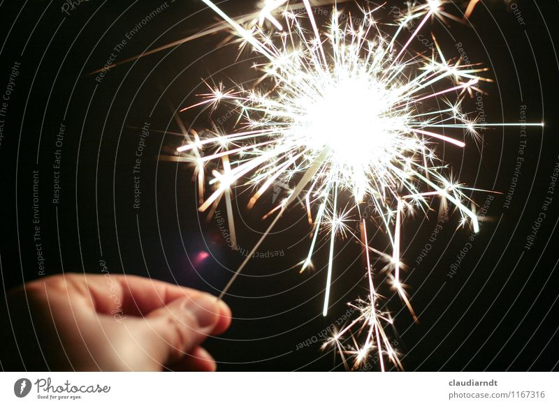 shower of stars Feasts & Celebrations New Year's Eve Birthday Human being Hand 1 Event Glittering Illuminate Bright Joy Happy Joie de vivre (Vitality) Sparkler