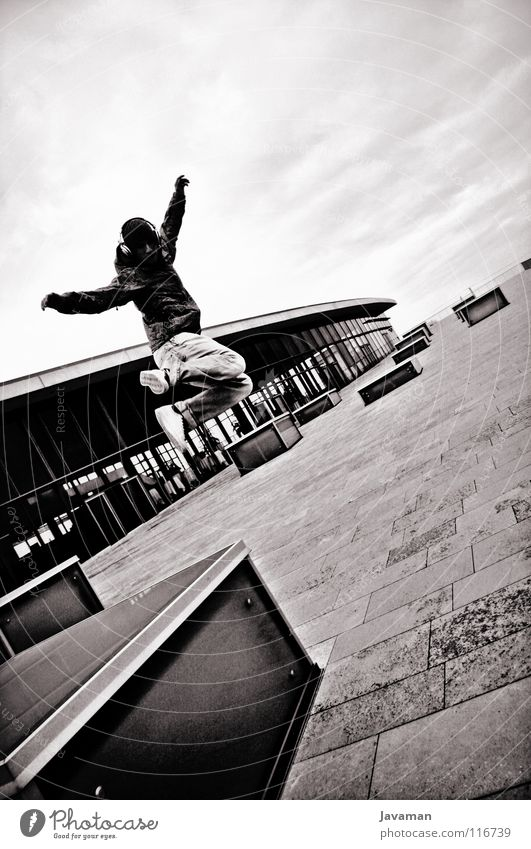 Break BW Dresden Jump Freestyle Joy CCD bw Black & white photo break Young Nation young people Exterior shot Architecture