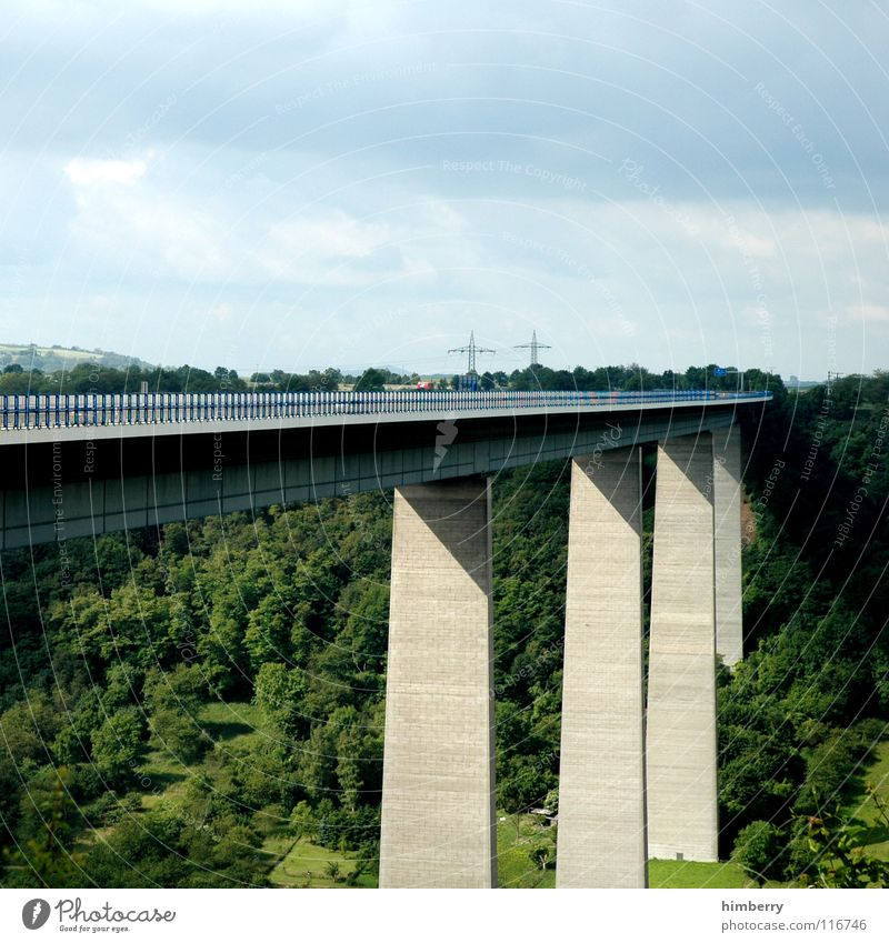 brückencase A3 Highway Forest Concrete Concrete floor Manmade structures Sky Traffic infrastructure Bridge Germany motorway bridge Valley Railroad crossing