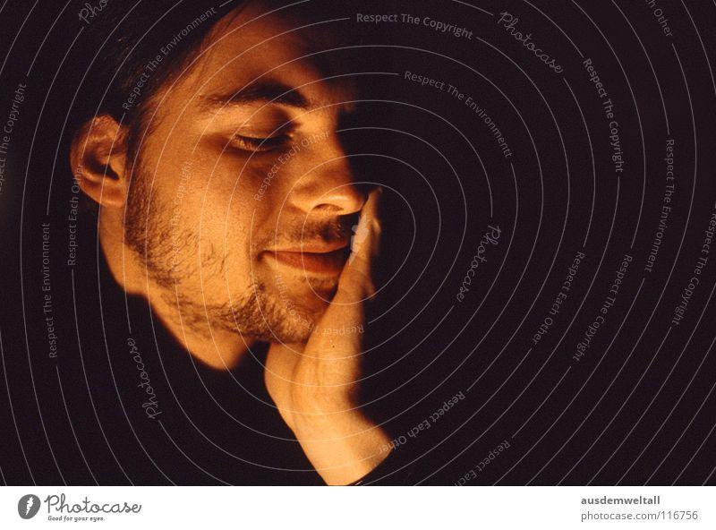 STOP Masculine Analog Slide Portrait photograph Emotions Hand Human being color Face Interior shot