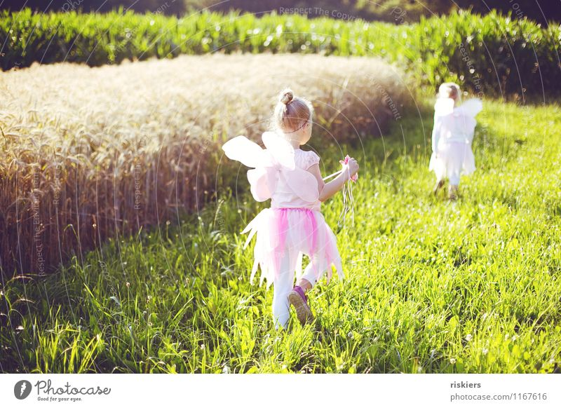 Human being Child Nature Summer Landscape Girl Environment Meadow Natural Feminine Playing Happy Dream Contentment Field Illuminate