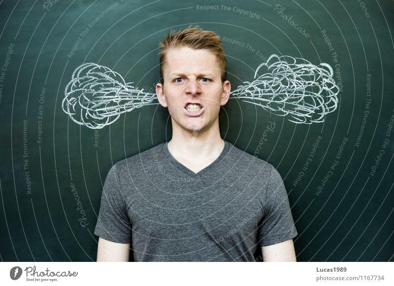angry man who smokes his ears Education School Study School building Classroom Blackboard schuler Teacher Academic studies University & College student