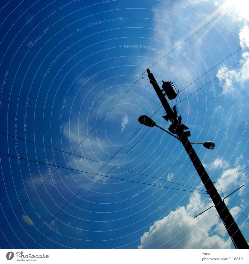 Sky White Sun Blue Clouds Lamp Industry Modern Electricity Cable Lantern Traffic infrastructure Diagonal Electricity pylon Dazzle Cross