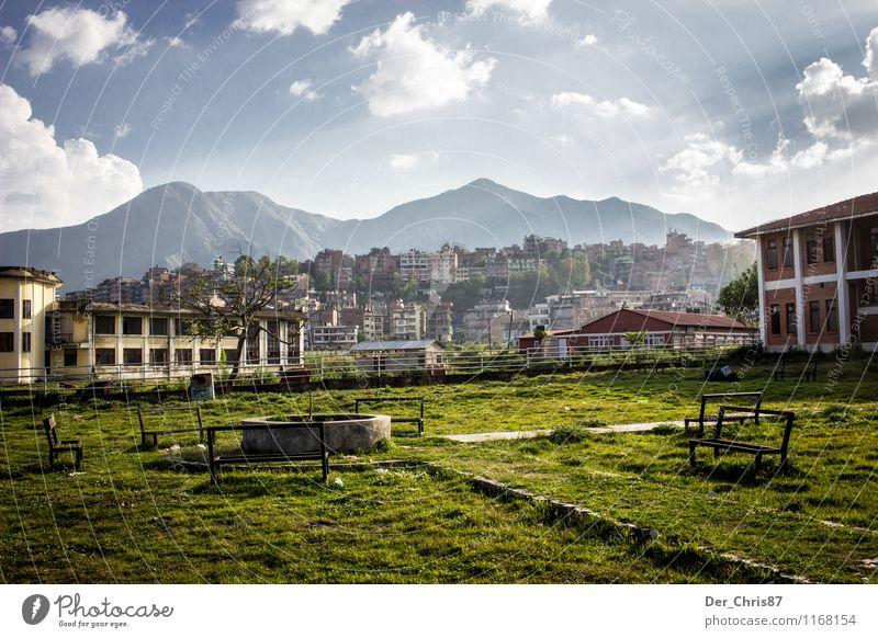 Schoolyard in Kathmandu Landscape Sky Clouds Sunlight Beautiful weather Mountain Himalayas Deserted Park Garden Safety (feeling of) Wanderlust Adventure