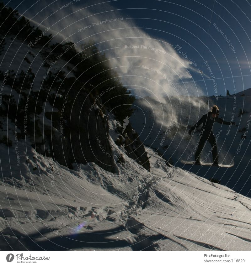 Free! Two. Winter Jump Snowboard Tracks Driving Air Out of breath Bushes White Tree Winter sports Rock Shadow Blue rock jump Ski jump Mountain Sky Stone