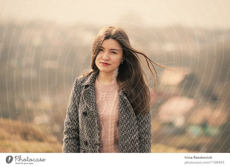 girl Young woman Youth (Young adults) Hair and hairstyles Face 1 Human being 18 - 30 years Adults Nature Landscape Meadow Fashion Sweater Coat Brunette To enjoy