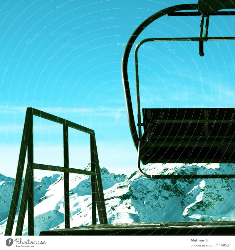 Lift to heaven Panorama (View) Winter Lake Federal State of Tyrol Ischgl Austria White Deep snow Cable car Ski lift Skier Tourism Clouds Peak Station Sun