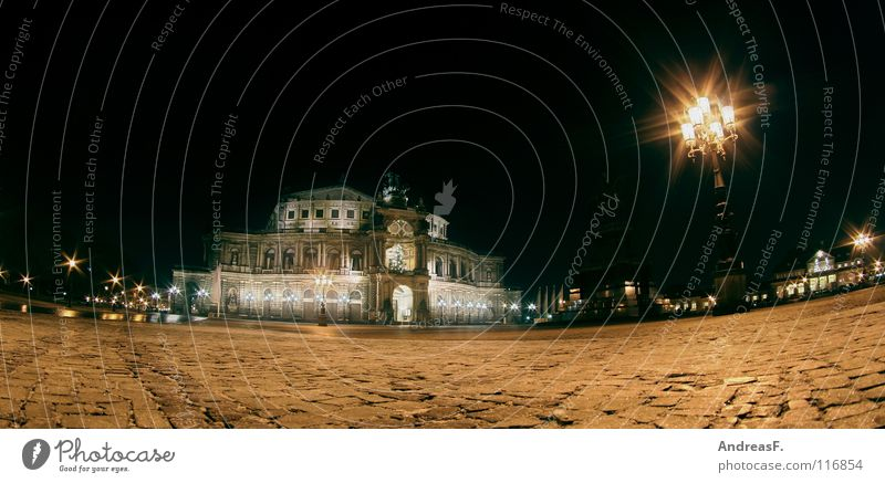 Dark Building Lighting Places Dresden Lantern Monument Historic Cobblestones Landmark Night Panorama (Format) Elbe Opera house Opera Saxony