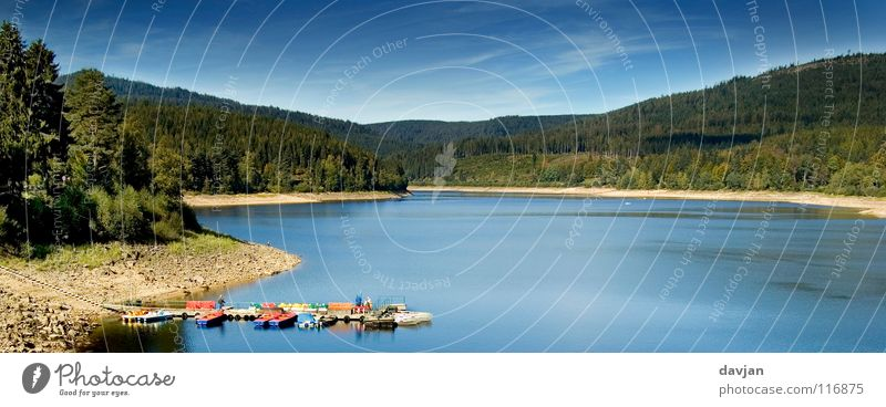 idyllic Black Forest Retaining wall Lake Beach Idyll Remote Panorama (View) Forbach Schwarzenbach dam Water Blue pedal boat boat hire Calm Panorama (Format)
