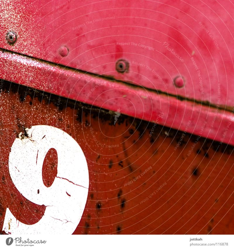 9 Digits and numbers Lettering Typography Rust Decline Broken Red White Material Rough Square nine Characters Old Structures and shapes Rivet Container Corner