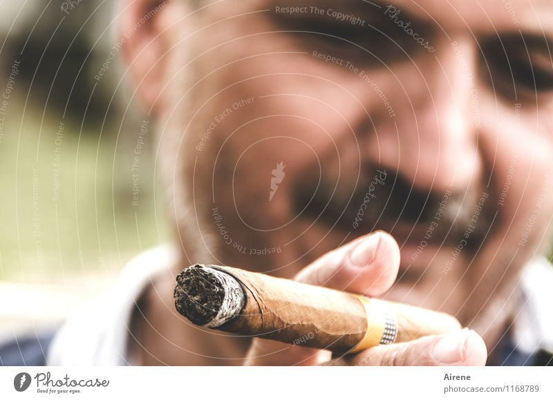 our man in Havana Luxury Smoking Tourism Masculine Man Adults Face Facial hair Fingers 1 Human being 45 - 60 years Cuba Cigar smile luck Brown Contentment