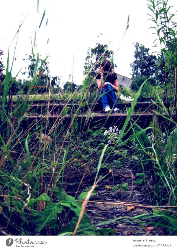 enjoy the silence. Railroad tracks Loneliness Calm Grass Green Gloomy To enjoy Boredom Sit Wait Exterior shot