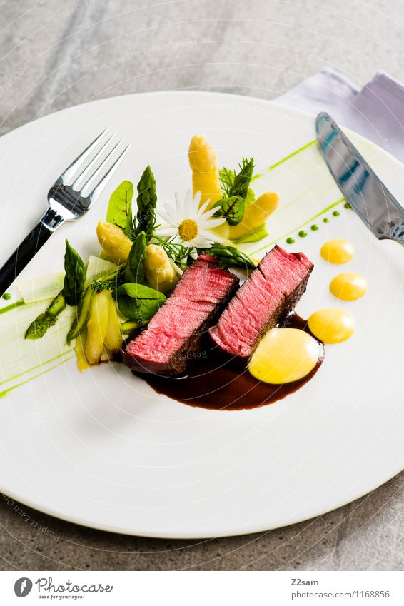 cattle Meat Vegetable Herbs and spices Asparagus Beef Filet mignon Hollondaise Lunch Dinner Italian Food Luxury Elegant Esthetic Fresh Healthy Delicious Design