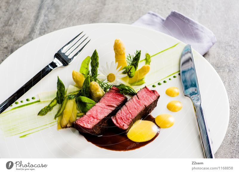 Beef with asparagus Food Meat Fruit Herbs and spices Filet mignon Sauce Sauce hollondaise Hollondaise Asparagus Potatoes Nutrition Dinner Italian Food Esthetic