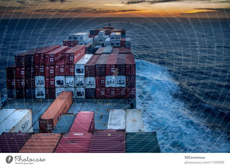 Cargo ship at sea Adventure Work and employment Workplace Logistics Transporter Transport network Transportation vehicle Container Sunrise Sunset