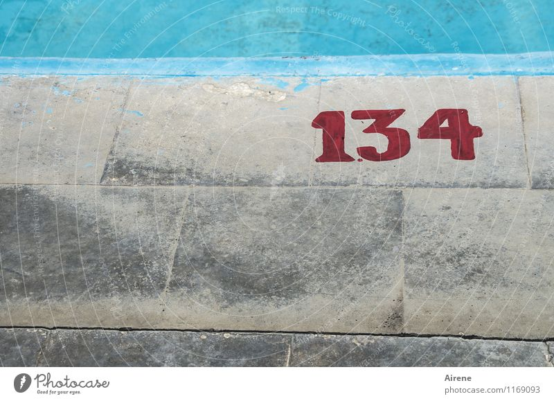 Stone No. 134 Swimming pool Terrace Paving stone Concrete Digits and numbers Signs and labeling Line Cold Gloomy Blue Gray Red Turquoise Disciplined Orderliness