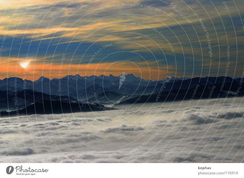 *sigh* II Fog Sea of fog Clouds Winter Cold Panorama (View) Glarner Alpes Longing Enchanting Wanderlust Switzerland Vantage point Mountain brooktel Blue Alps