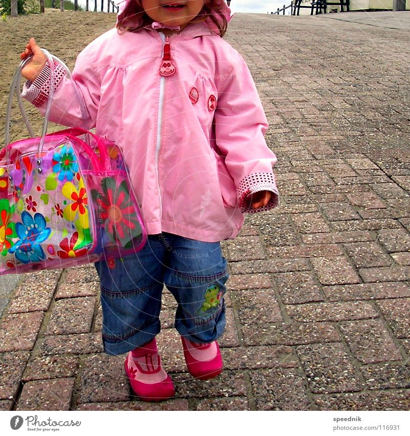 Child Girl Flower Colour Loneliness Street Lanes & trails Sand Earth Footwear Pink Dirty Clean Jeans Toddler Kindergarten