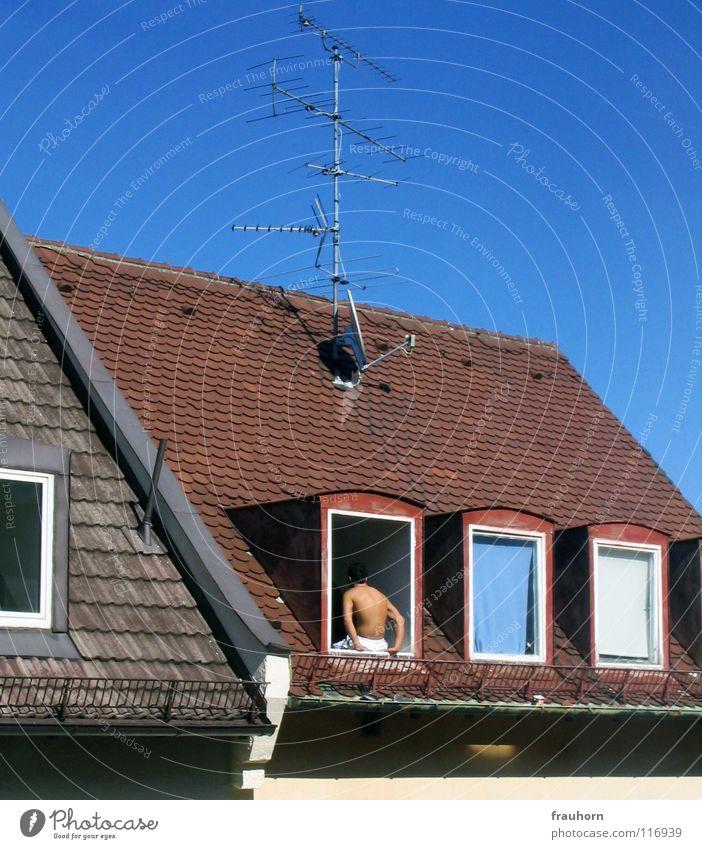 Hand Sky White Summer Winter Window Ice Arm Back Roof Hot Guy Antenna Sky blue Roofing tile Gable