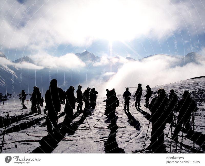 Beautiful Sun Clouds Mountain Snow Beginning Many Alps Snowcapped peak Skiing Switzerland Skier Ski run Crowded