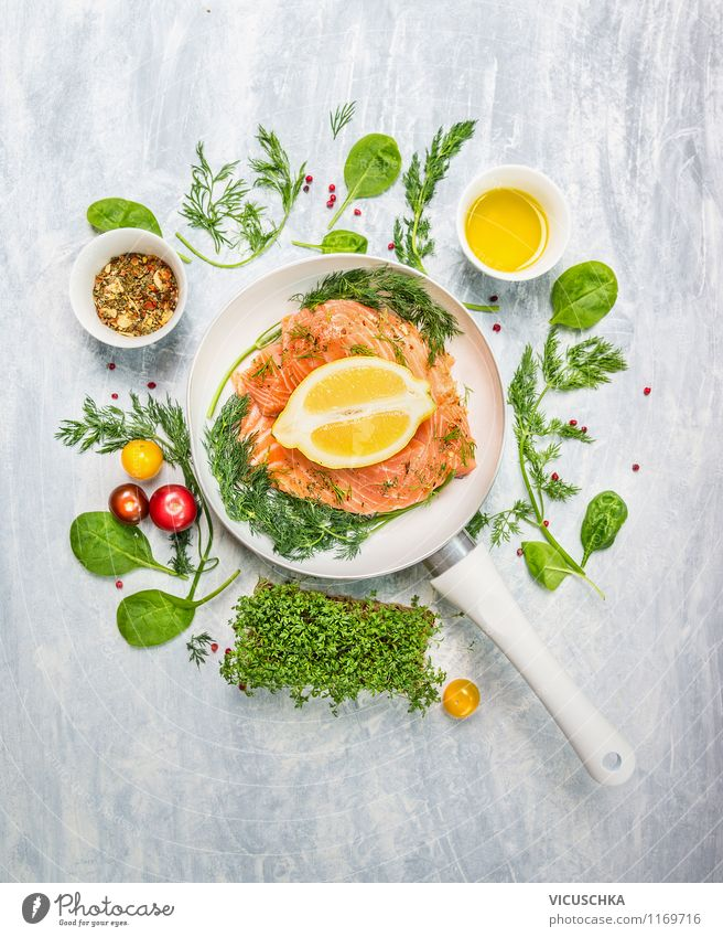 Salmon fillet in white pan with herbs and spices Food Fish Vegetable Lettuce Salad Herbs and spices Cooking oil Nutrition Lunch Dinner Banquet Organic produce