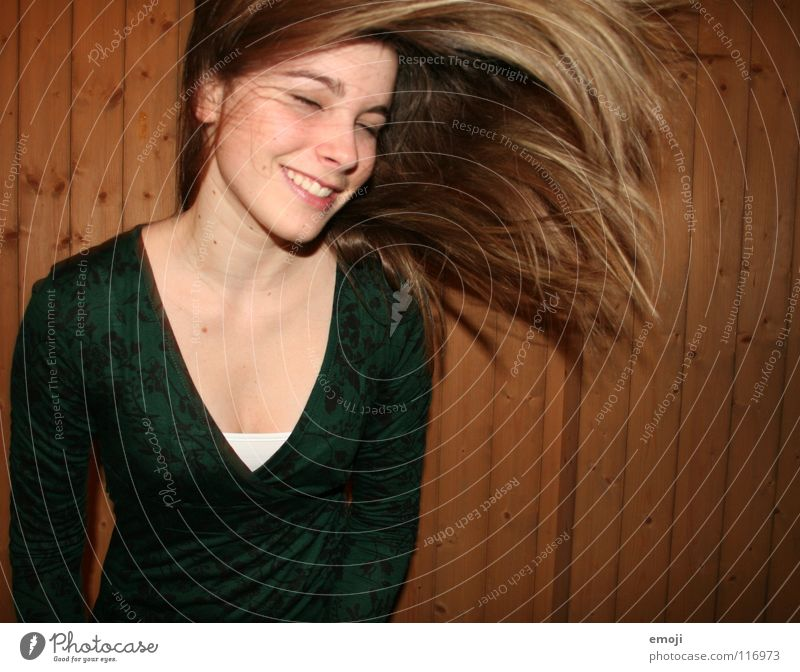 I've got beautiful hair. *sing* Woman Youth (Young adults) Rocking out Authentic Wooden wall Air Breeze Beautiful Sweet Beauty Photography To enjoy Good mood