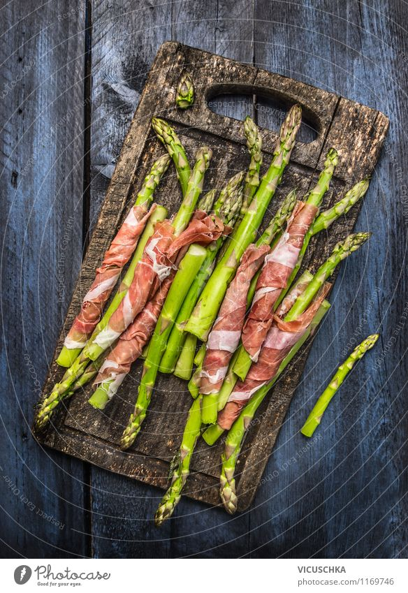 Green asparagus with ham on rustic chopping board Food Meat Sausage Vegetable Nutrition Lunch Dinner Organic produce Style Design Healthy Eating Table