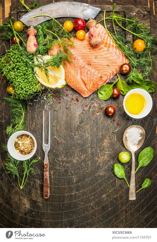 Healthy fish cooking with lots of herbs and vegetables Food Fish Vegetable Lettuce Salad Herbs and spices Cooking oil Nutrition Lunch Dinner Organic produce