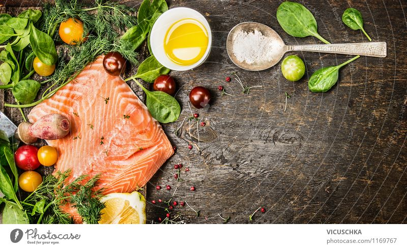 salmon, fresh herbs, oil and spoon on old wooden table Food Fish Vegetable Herbs and spices Cooking oil Nutrition Lunch Dinner Banquet Organic produce
