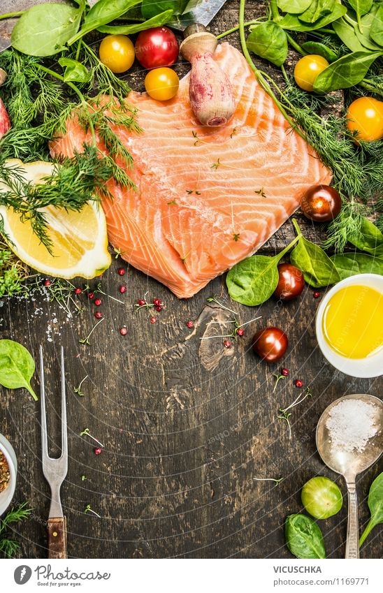 Salmon with fresh ingredients on a rustic table Food Fish Vegetable Lettuce Salad Herbs and spices Cooking oil Nutrition Lunch Dinner Organic produce