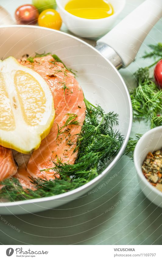 Salmon in a white pan with fresh ingredients Food Fish Vegetable Herbs and spices Cooking oil Nutrition Lunch Organic produce Vegetarian diet Diet Crockery Bowl