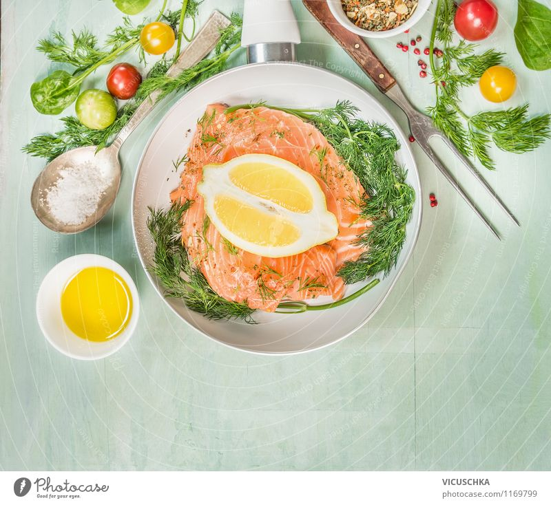 Roast salmon fillet Food Fish Herbs and spices Cooking oil Nutrition Lunch Dinner Banquet Organic produce Vegetarian diet Diet Bowl Pan Fork Spoon Style Design