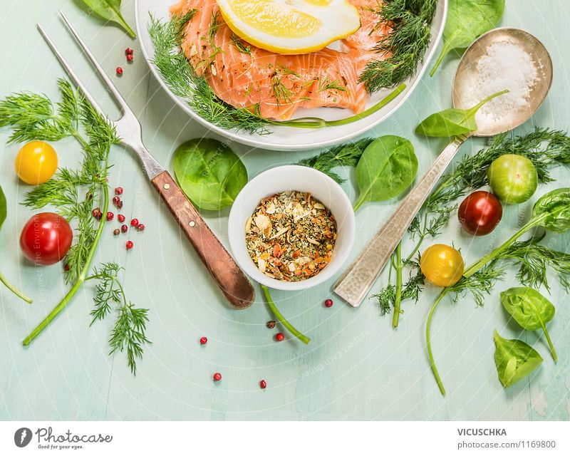 Fresh herbs and spices for salmon Food Fish Vegetable Lettuce Salad Herbs and spices Nutrition Lunch Dinner Buffet Brunch Organic produce Vegetarian diet Bowl