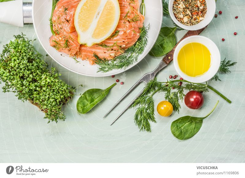 Healthy Eating Life Style Food Design Table Nutrition Cooking & Baking Herbs and spices Kitchen Fish Vegetable Organic produce Bowl Dinner Diet
