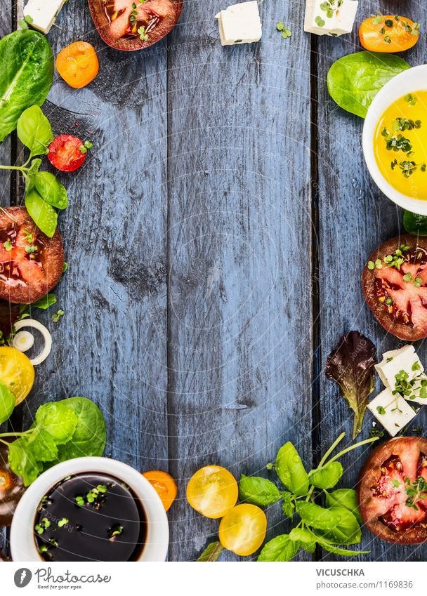 Summer salad ingredients on blue wooden table Food Vegetable Lettuce Salad Herbs and spices Cooking oil Nutrition Lunch Organic produce Vegetarian diet Diet