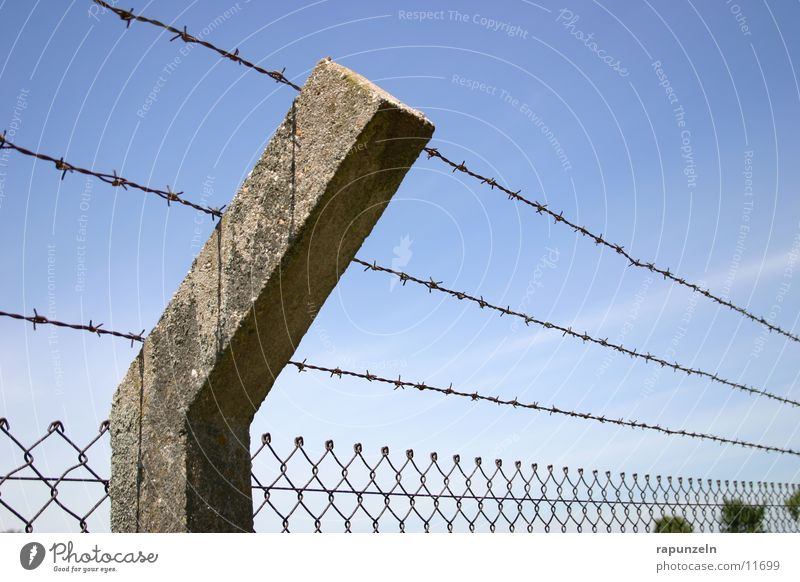 Sky Clouds Freedom Stone Historic Fence Penitentiary Barbed wire